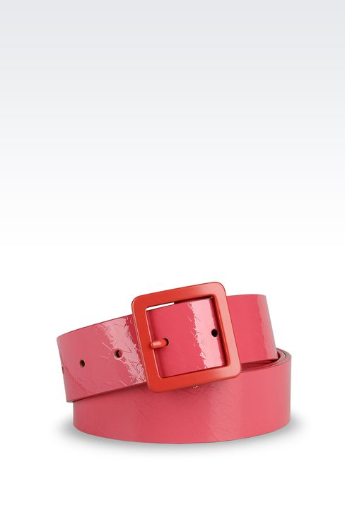 PATENT-LEATHER BELT WITH ALL-OVER LOGO: Leather belts Women by Armani - 1