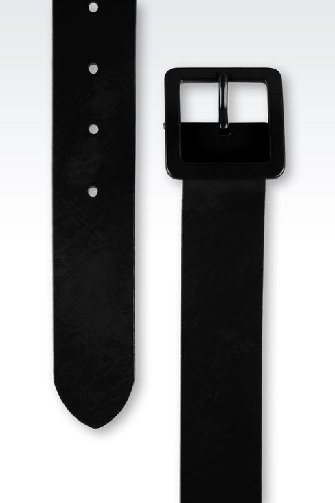 PATENT-LEATHER BELT WITH ALL-OVER LOGO: Leather belts Women by Armani - 2
