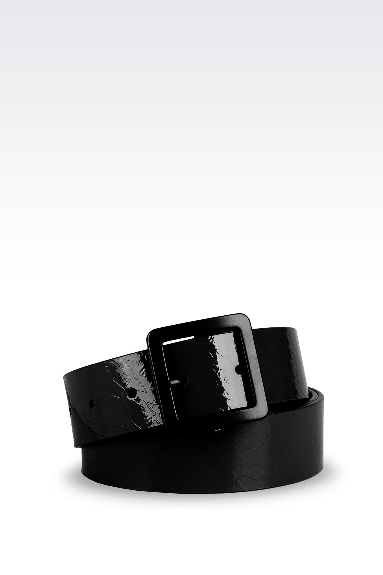 PATENT-LEATHER BELT WITH ALL-OVER LOGO: Leather belts Women by Armani - 0