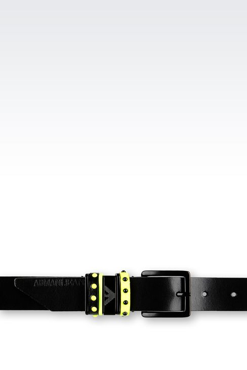 LEATHER BELT WITH CONTRASTING STUDS: Textile belts Women by Armani - 3