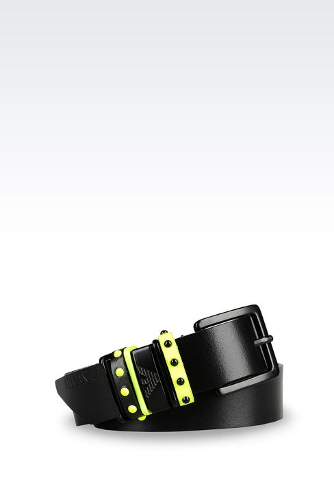 LEATHER BELT WITH CONTRASTING STUDS: Textile belts Women by Armani - 1