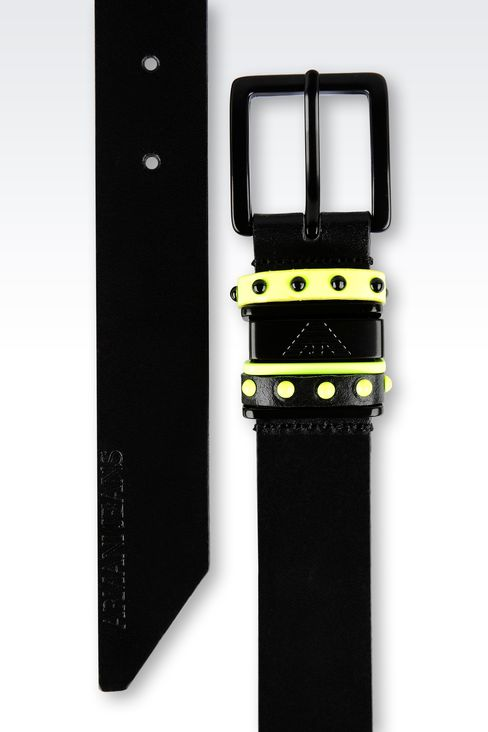 LEATHER BELT WITH CONTRASTING STUDS: Textile belts Women by Armani - 2