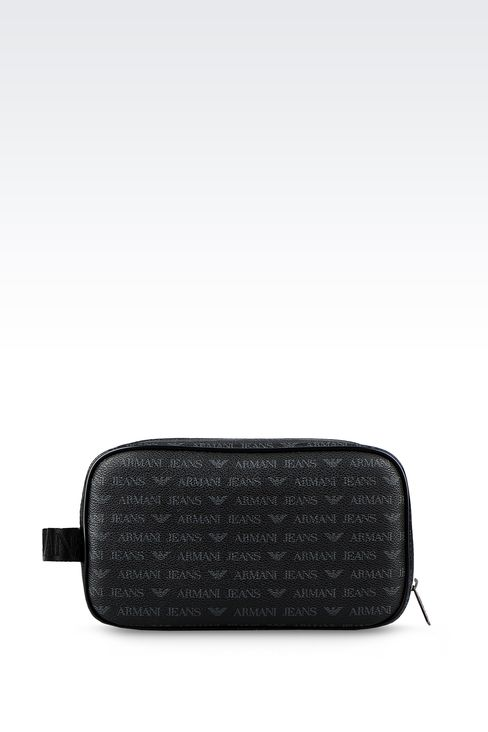 BEAUTY CASE IN FAUX LEATHER WITH ALL-OVER LOGO: Beauty cases Men by Armani - 1