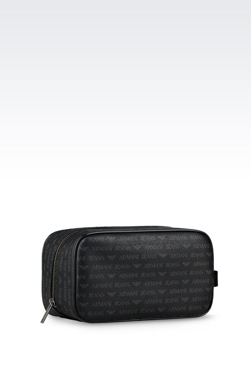 BEAUTY CASE IN FAUX LEATHER WITH ALL-OVER LOGO: Beauty cases Men by Armani - 2