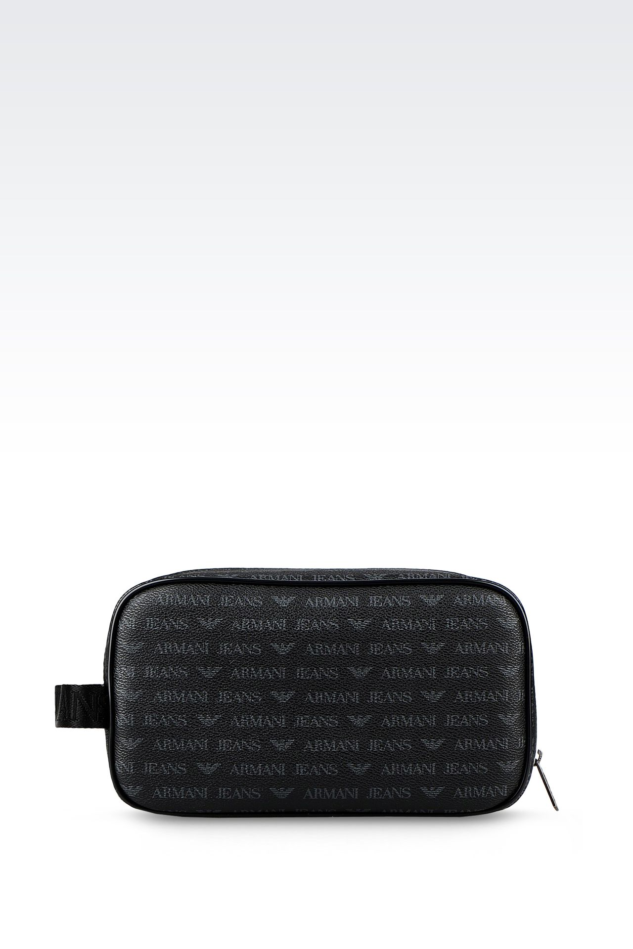 BEAUTY CASE IN FAUX LEATHER WITH ALL-OVER LOGO: Beauty cases Men by Armani - 0
