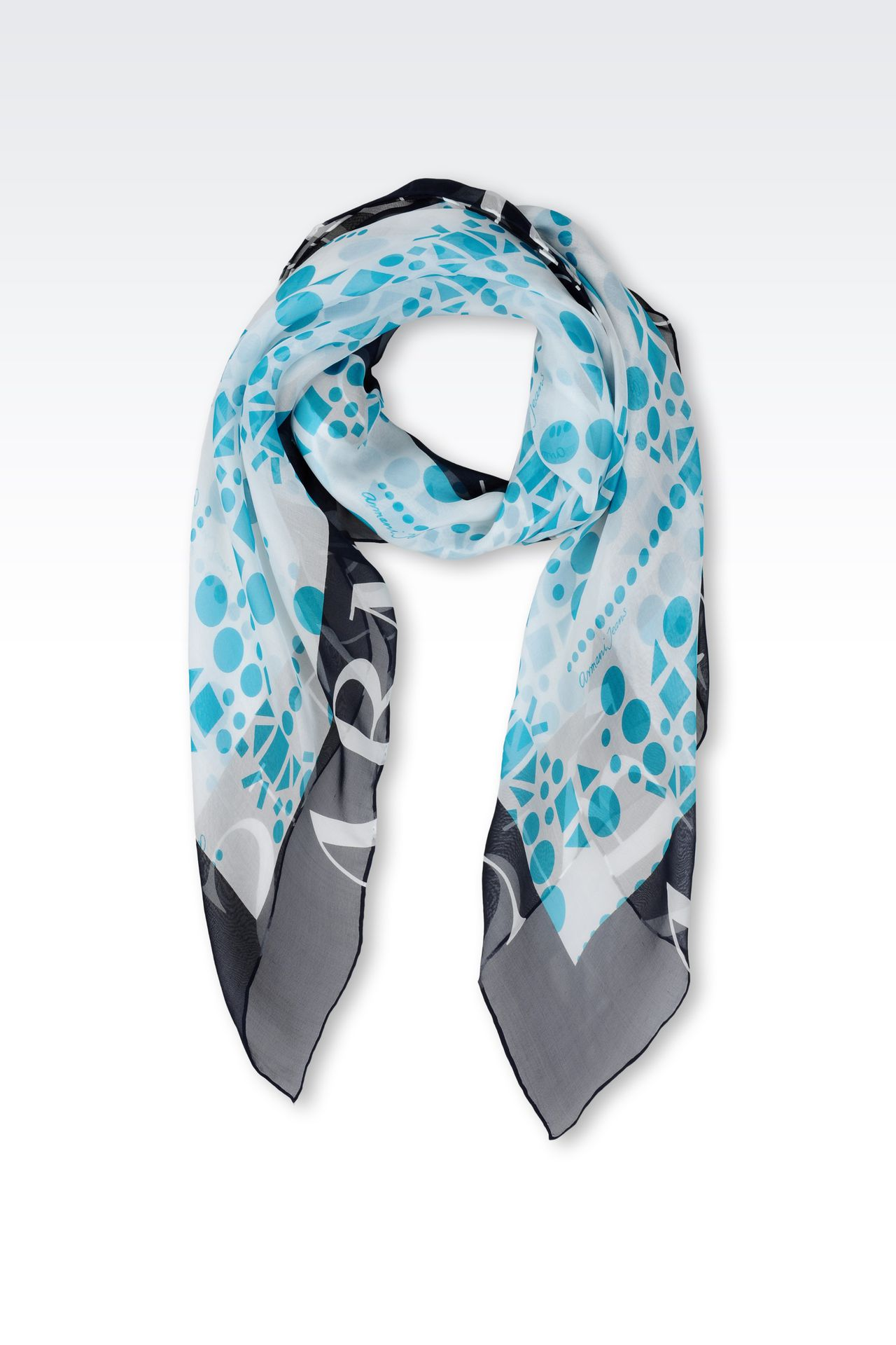 LIGHT SILK SCARF WITH GEOMETRIC PATTERN: Foulards Women by Armani - 0