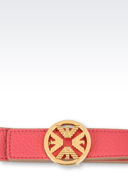 PRINTED CALFSKIN BELT WITH LOGOED BUCKLE: Leather belts Women by Armani - 3