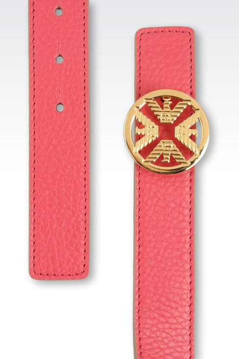 PRINTED CALFSKIN BELT WITH LOGOED BUCKLE: Leather belts Women by Armani - 2