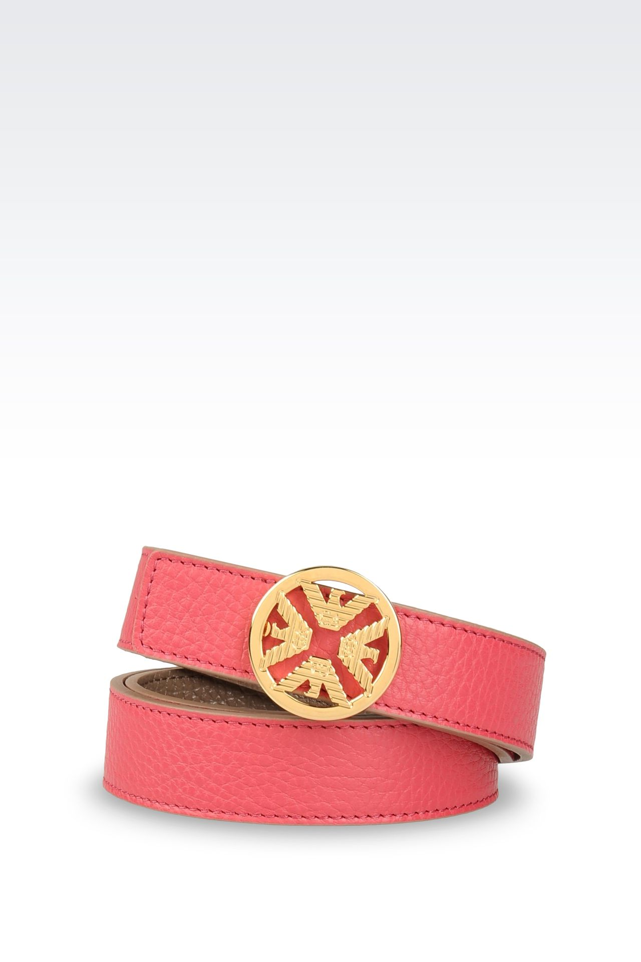 PRINTED CALFSKIN BELT WITH LOGOED BUCKLE: Leather belts Women by Armani - 0