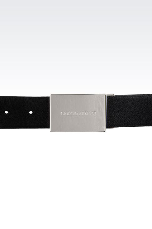 REVERSIBLE BELT WITH LOGOED BUCKLE: Leather belts Men by Armani - 3