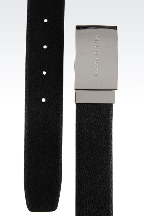 REVERSIBLE BELT WITH LOGOED BUCKLE: Leather belts Men by Armani - 2