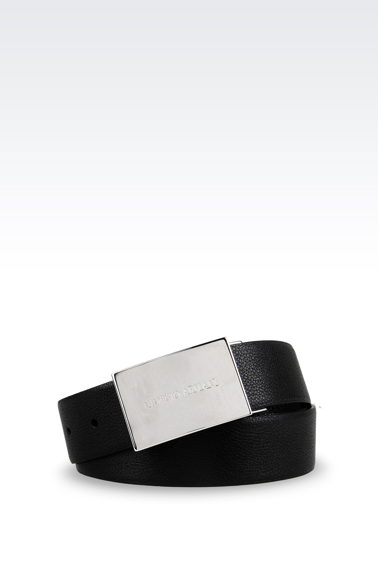 REVERSIBLE BELT WITH LOGOED BUCKLE: Leather belts Men by Armani - 0