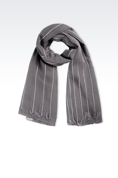 VISCOSE AND SILK WRAP WITH TASSELS : Stoles Women by Armani - 1