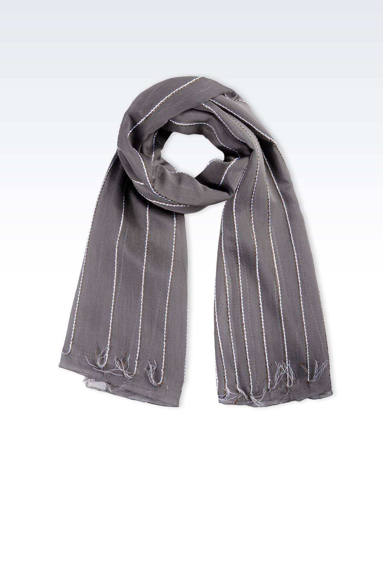 VISCOSE AND SILK WRAP WITH TASSELS : Stoles Women by Armani - 0