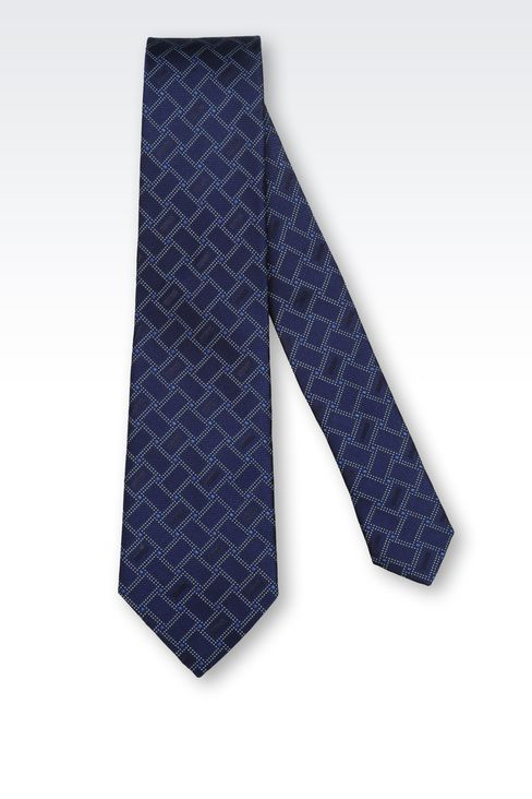 SILK TIE WITH GEOMETRIC PATTERN: Ties Men by Armani - 2