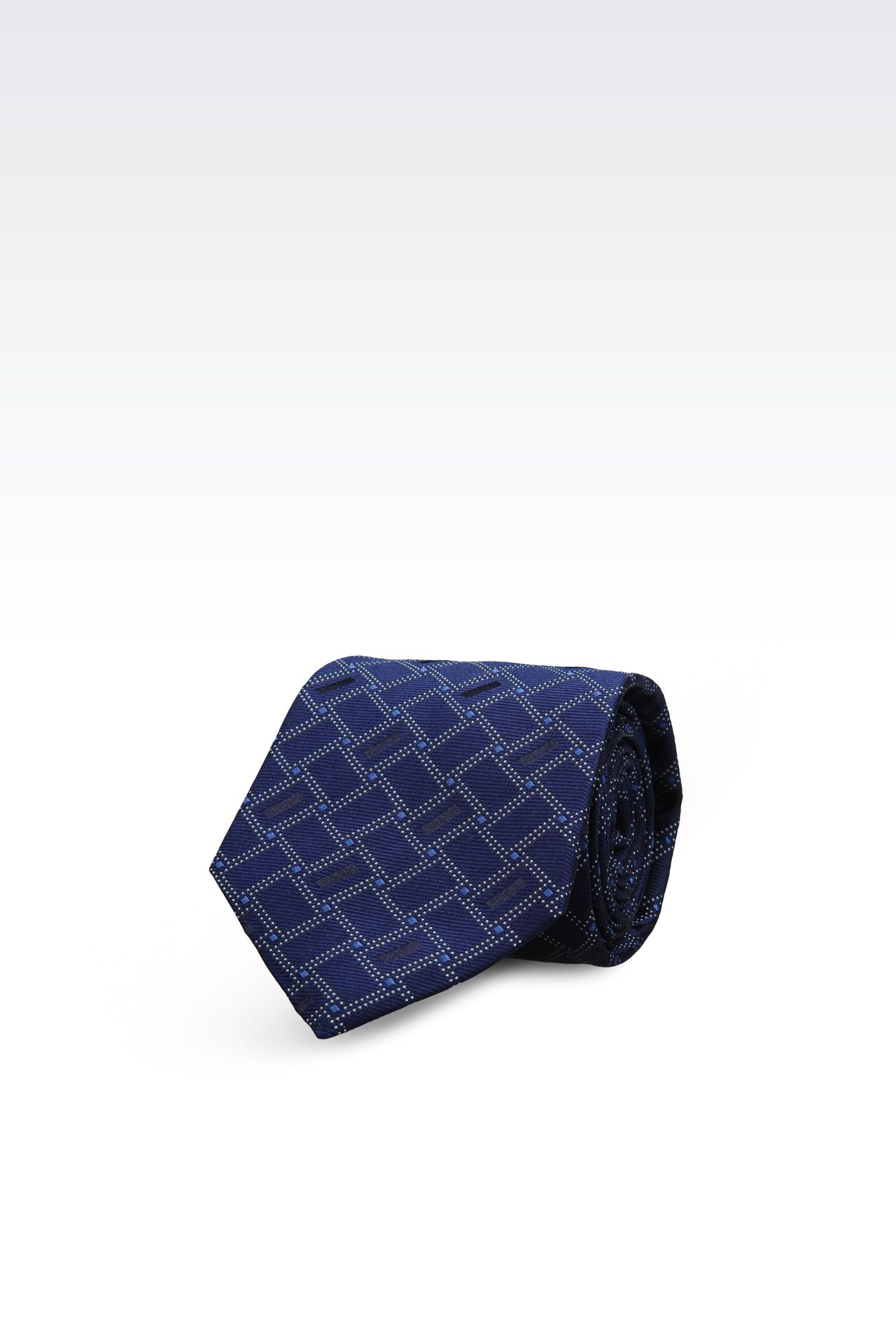 SILK TIE WITH GEOMETRIC PATTERN: Ties Men by Armani - 0