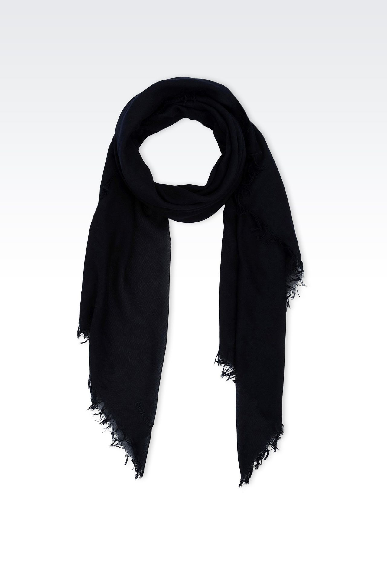 COTTON SCARF WITH LOGO: Foulards Men by Armani - 0