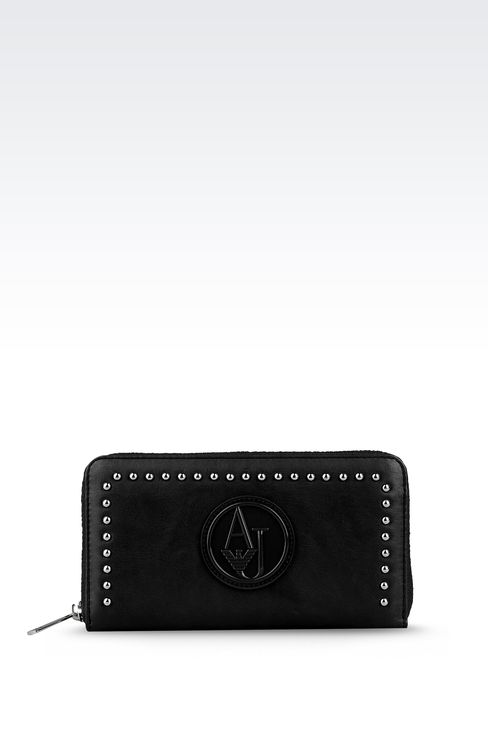 ZIP-AROUND WALLET IN FAUX LEATHER WITH STUDS: Wallets Women by Armani - 1