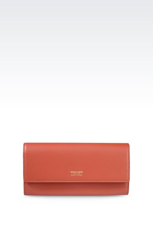 BUTTON WALLET IN CALFSKIN: Wallets Women by Armani - 1