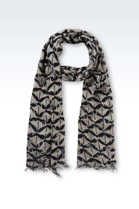 VISCOSE AND CASHMERE SCARF WITH LOGO PATTERN: Scarves Women by Armani - 1