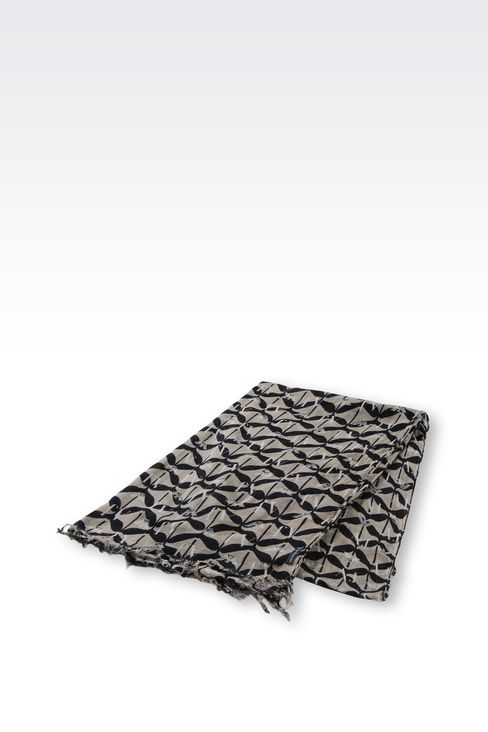 VISCOSE AND CASHMERE SCARF WITH LOGO PATTERN: Scarves Women by Armani - 2