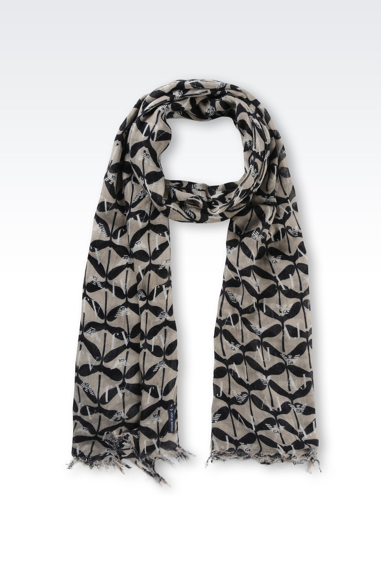 VISCOSE AND CASHMERE SCARF WITH LOGO PATTERN: Scarves Women by Armani - 0