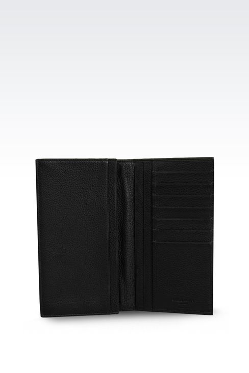 CHECKBOOK WALLET IN TUMBLED CALFSKIN: Wallets Men by Armani - 3