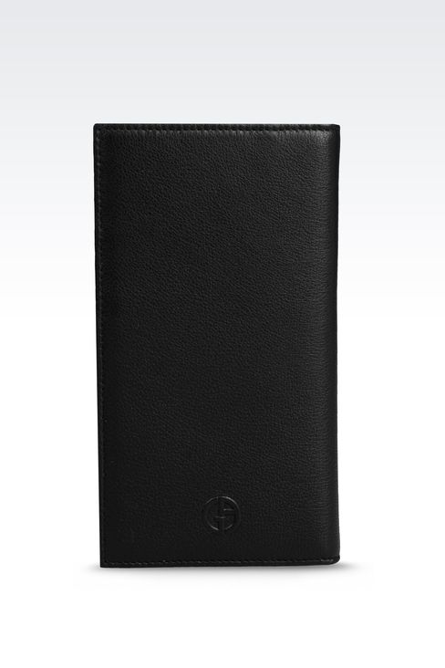 CHECKBOOK WALLET IN TUMBLED CALFSKIN: Wallets Men by Armani - 1
