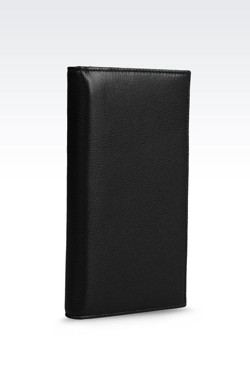 CHECKBOOK WALLET IN TUMBLED CALFSKIN: Wallets Men by Armani - 2
