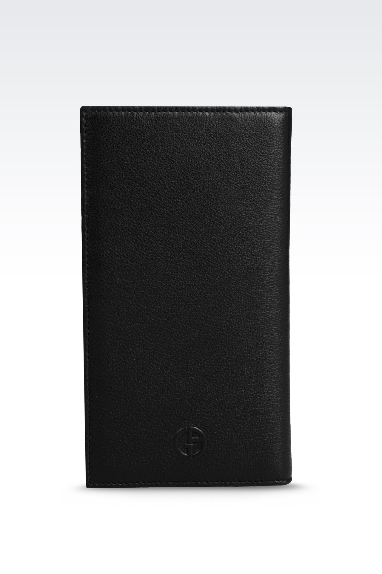 CHECKBOOK WALLET IN TUMBLED CALFSKIN: Wallets Men by Armani - 0