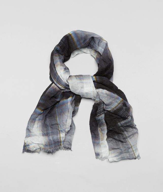 WHITE BLUE COTTON SILK SCARF