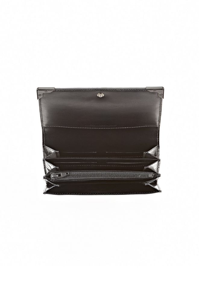 ALEXANDER WANG EXCLUSIVE PRISMA SKELETAL BIKER PURSE IN CURACAO WITH MATTE BLACK Wallets Adult 12_n_d