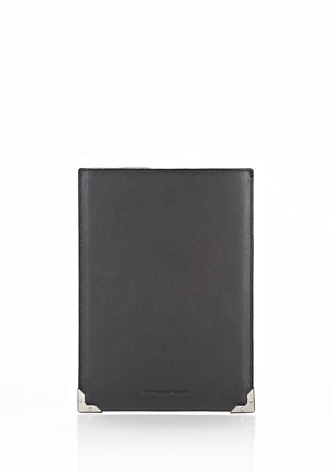 ALEXANDER WANG PRISMA SKELETAL IPAD MINI SLEEVE IN HEAVY CRACKED BLACK WITH RHODIUM TECH Adult 12_n_d