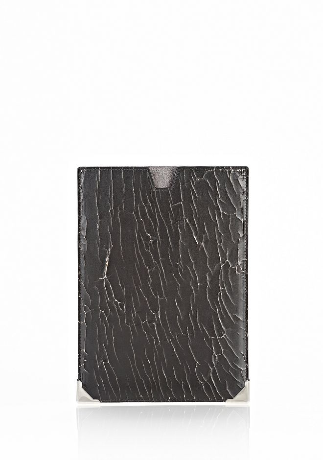 ALEXANDER WANG PRISMA SKELETAL IPAD MINI SLEEVE IN HEAVY CRACKED BLACK WITH RHODIUM