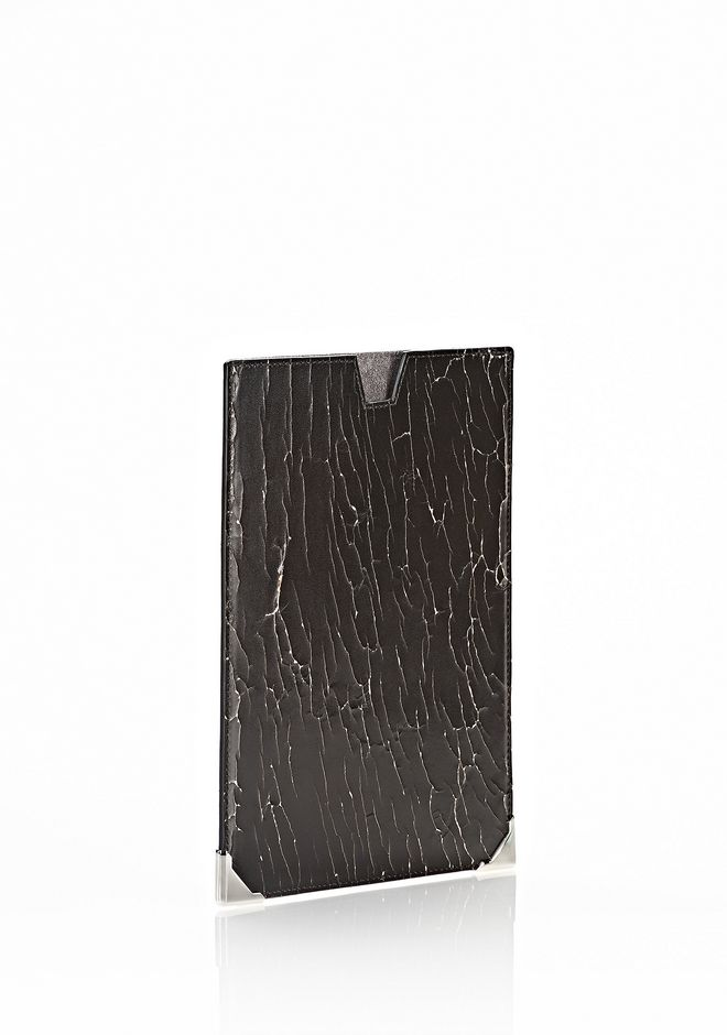 ALEXANDER WANG PRISMA SKELETAL IPAD MINI SLEEVE IN HEAVY CRACKED BLACK WITH RHODIUM TECH Adult 12_n_r