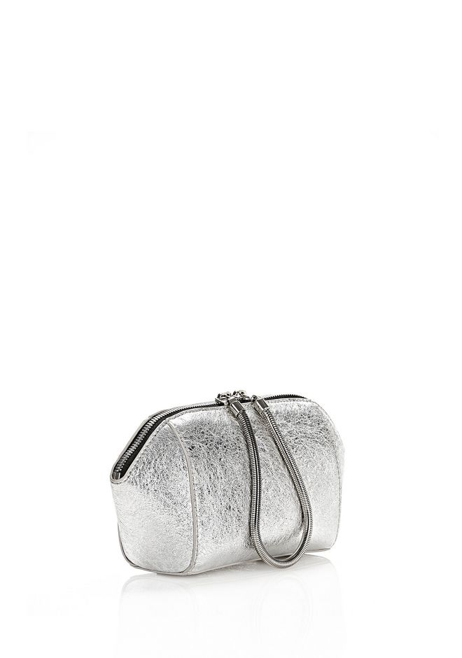 ALEXANDER WANG CHASTITY MAKE-UP POUCH IN FOILED RHODIUM WITH NICKEL SMALL LEATHER GOOD Adult 12_n_d