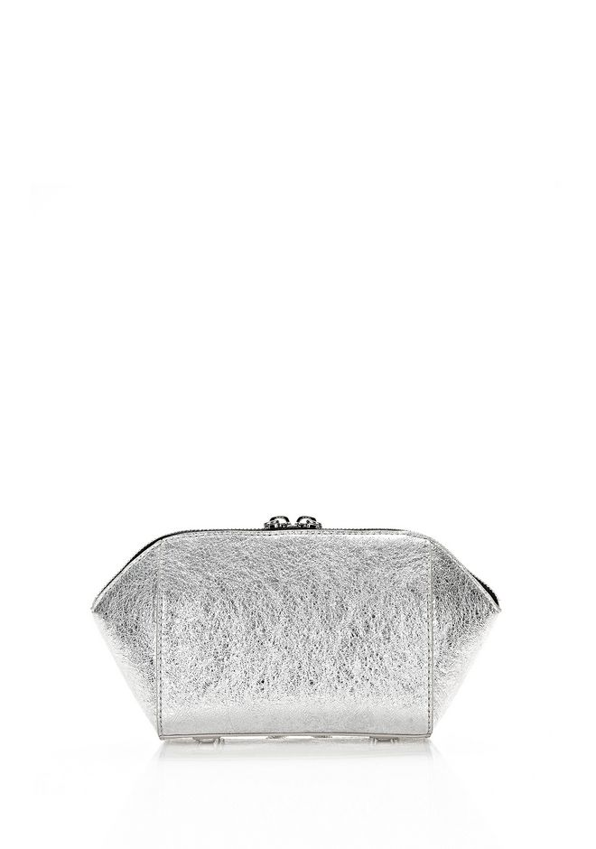 ALEXANDER WANG CHASTITY MAKE-UP POUCH IN FOILED RHODIUM WITH NICKEL SMALL LEATHER GOOD Adult 12_n_e