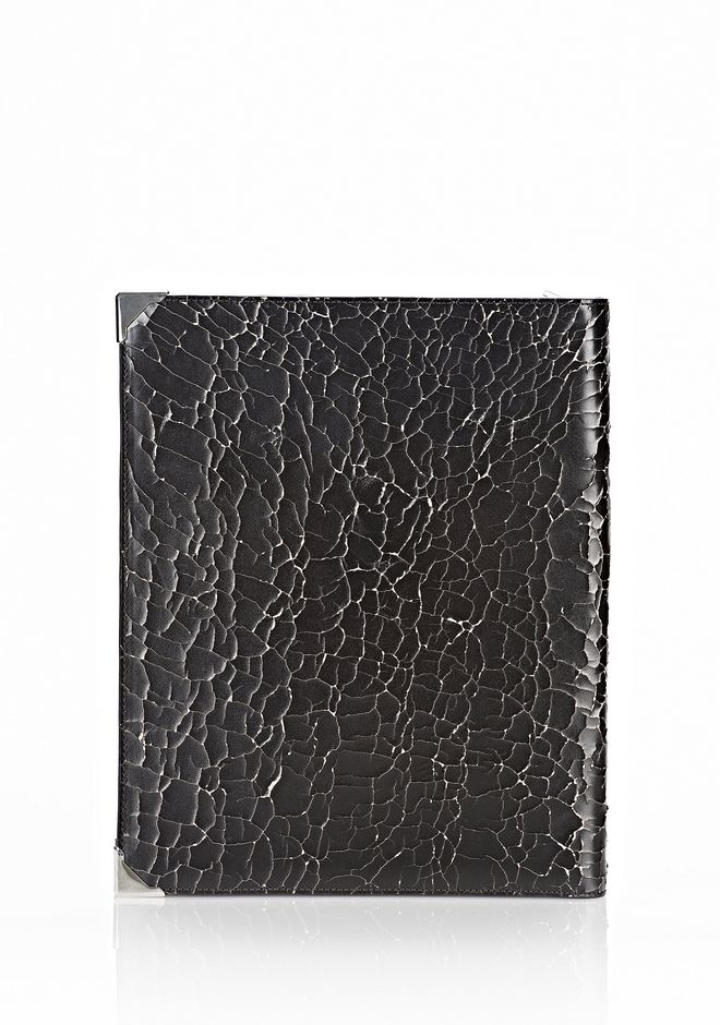 PRISMA SKELETAL IPAD CASE IN HEAVY CRACKED BLACK WITH RHODIUM