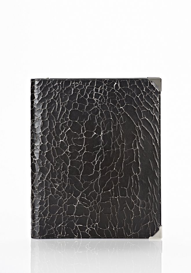 ALEXANDER WANG PRISMA SKELETAL IPAD CASE IN HEAVY CRACKED BLACK WITH RHODIUM