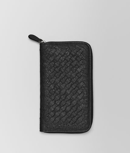 BOTTEGA VENETA - NERO INTRECCIATO ANTIQUE OSTRICH ZIP AROUND WALLET