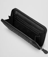 NERO INTRECCIATO ANTIQUE OSTRICH ZIP AROUND WALLET