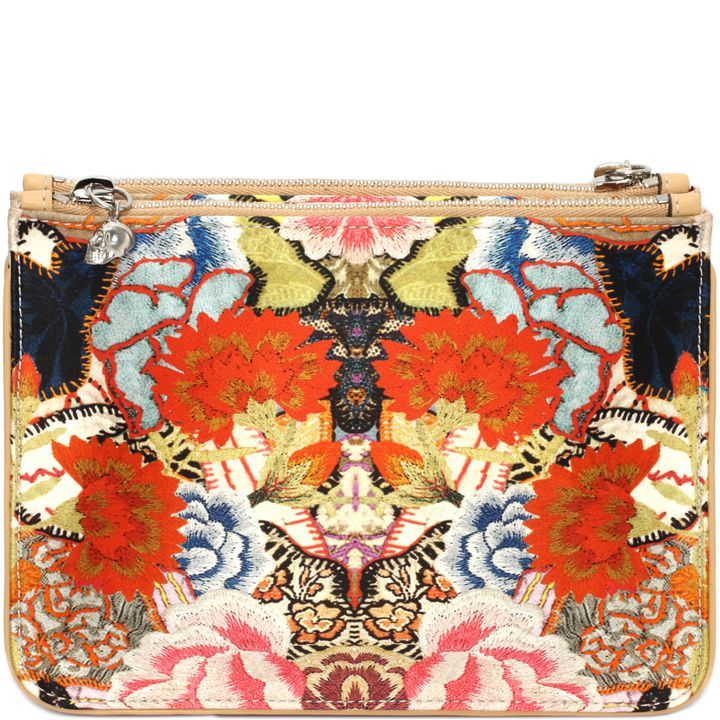 Alexander McQueen, Patchwork Floral Skull Charm Double Pouch