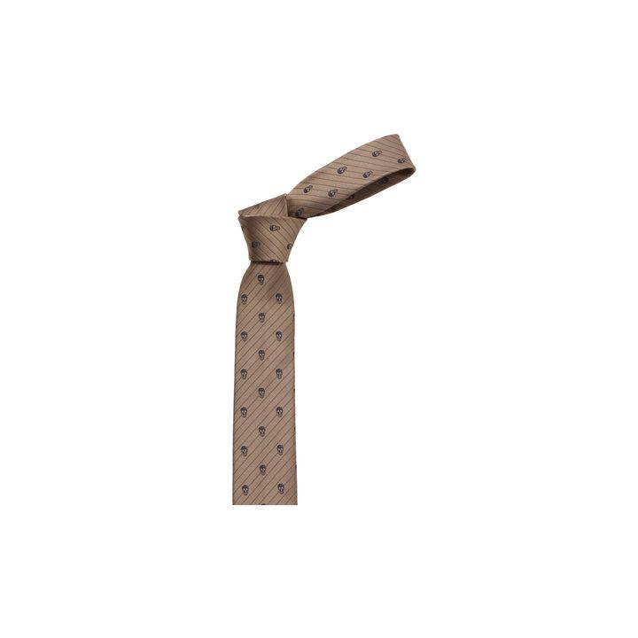 Alexander McQueen, Cravate à rayures et motifs Skull en diagonale