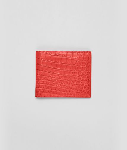 BOTTEGA VENETA - NEW RED SOFT CROCODILE FUME' WALLET