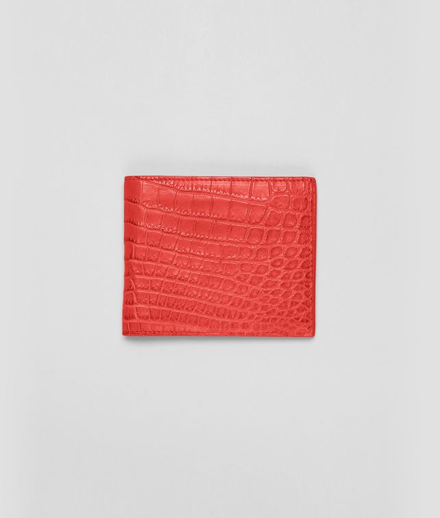 BOTTEGA VENETA WALLET IN NEW RED CROCODILE Bi-fold Wallet U fp