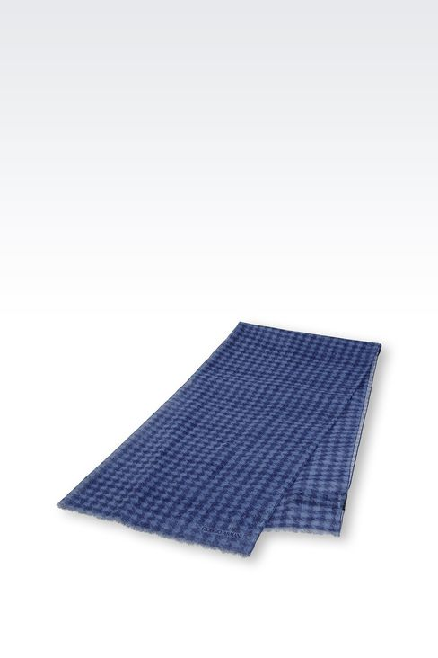 COTTON HOUNDSTOOTH WRAP: Stoles Men by Armani - 2