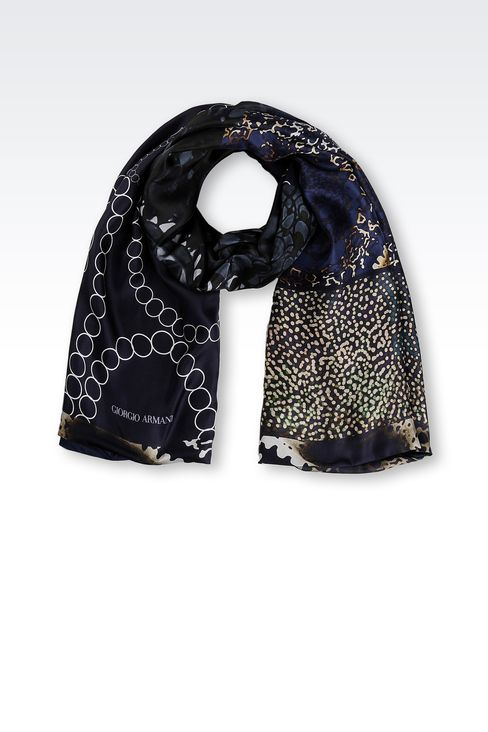 MODAL SILK WRAP WITH PRINT: Stoles Men by Armani - 1