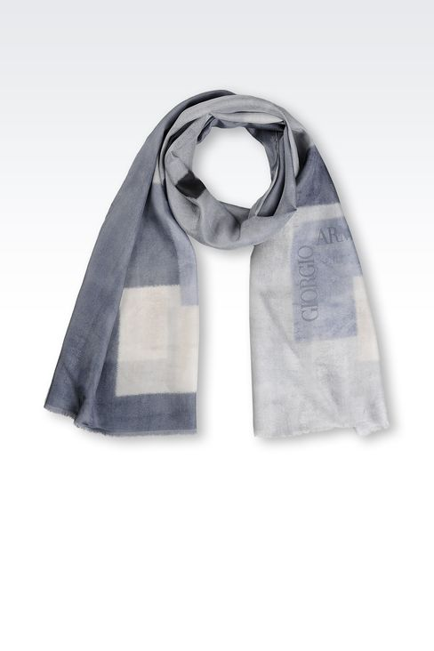 SILK WRAP WITH GEOMETRIC PATTERN: Stoles Men by Armani - 1