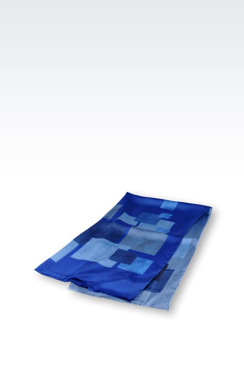 SILK WRAP WITH GEOMETRIC PATTERN: Stoles Men by Armani - 2