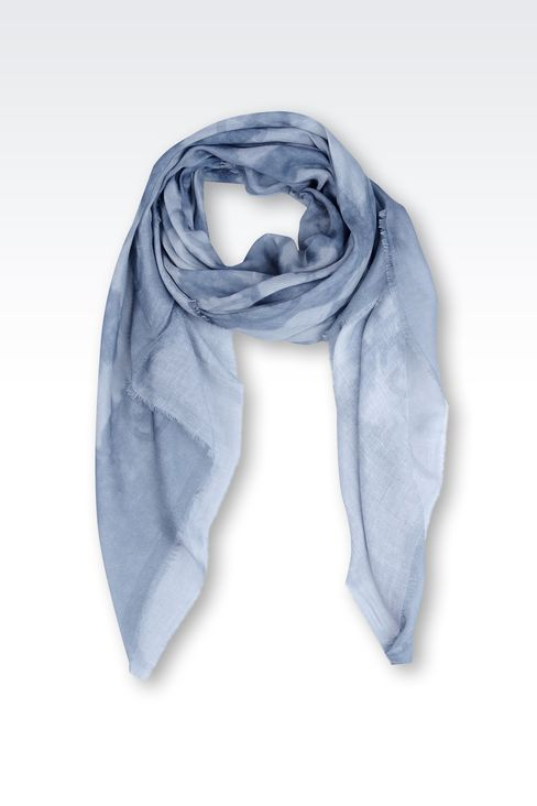 MODAL AND LINEN SCARF WITH ALL OVER LOGO: Foulards Men by Armani - 1